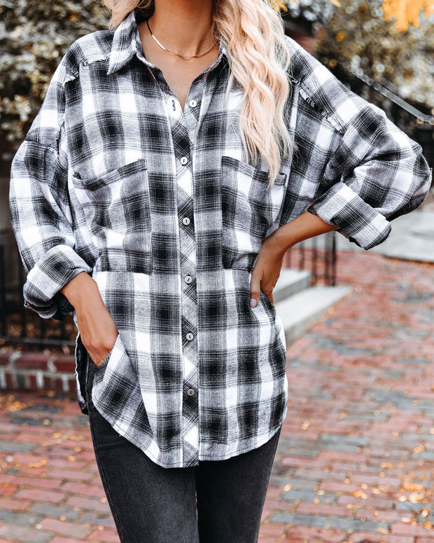 Alba Cotton Blend Plaid Button Down Top - Black view 3