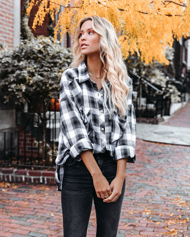 Alba Cotton Blend Plaid Button Down Top - Black view 5