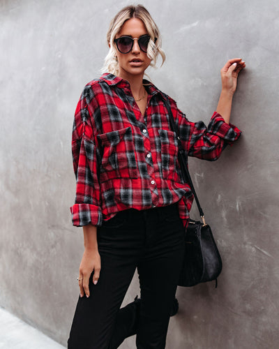 PREORDER - Alba Cotton Blend Plaid Button Down Top - Red