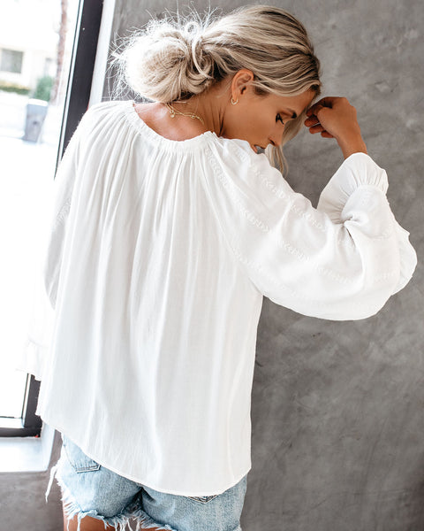 Al Campo Embroidered Peasant Top