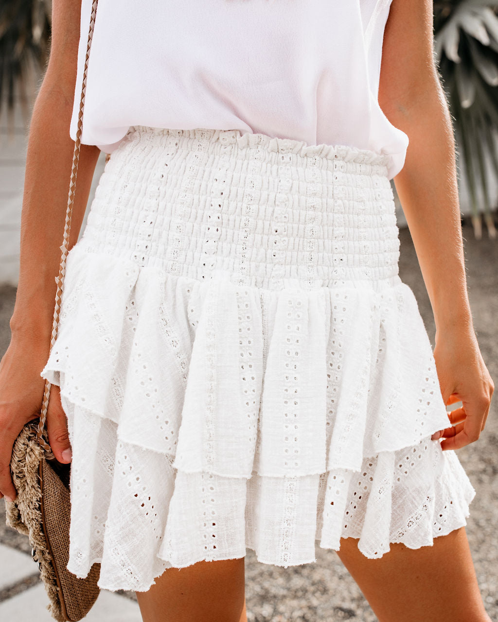 d0371c3bb45846 Alexis Smocked Cotton Eyelet Tiered Mini Skirt – VICI