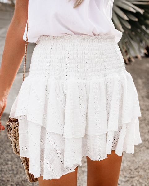 Alexis Smocked Cotton Eyelet Tiered Mini Skirt
