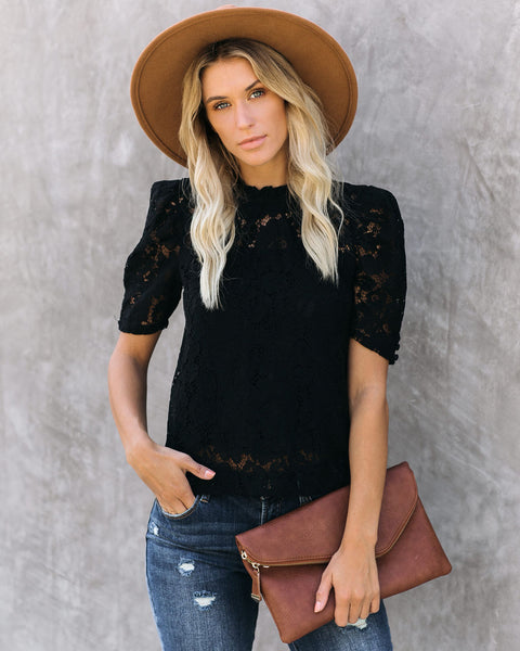Alice Short Sleeve Lace Blouse - Black