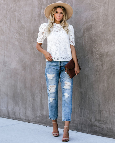Alice Short Sleeve Lace Blouse - White - FINAL SALE
