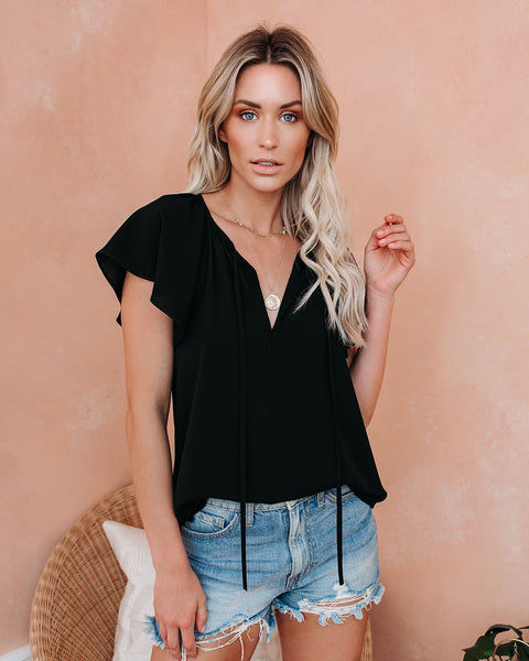 All A Flutter Tie Top - Black