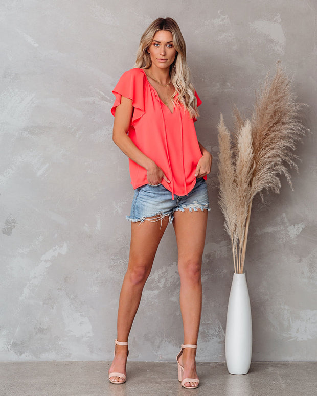 All A Flutter Tie Top - Bright Coral