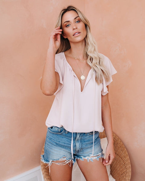 All A Flutter Tie Top - Champagne - FINAL SALE