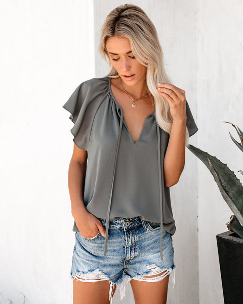 All A Flutter Tie Top - Medium Grey - FINAL SALE