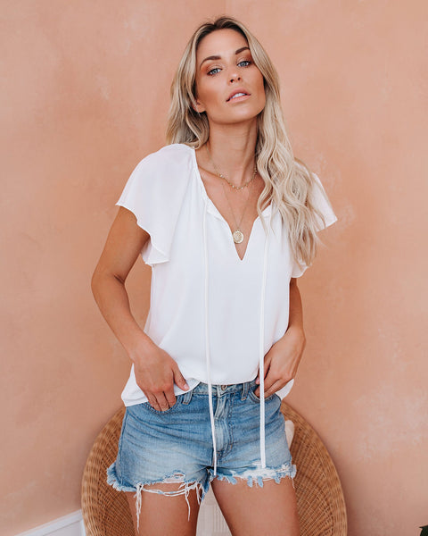All A Flutter Tie Top - White