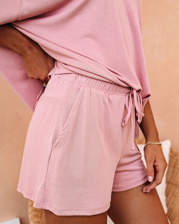 All Cozied Up Pocketed Knit Shorts - Antique Mauve