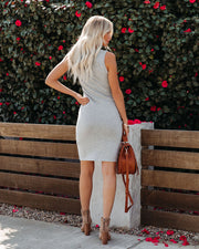 Allegra Ruched Knit Tank Dress - Heather Grey view 9