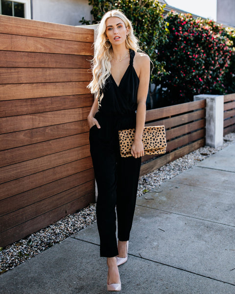 All Eyes On You Pocketed Jumpsuit - Black