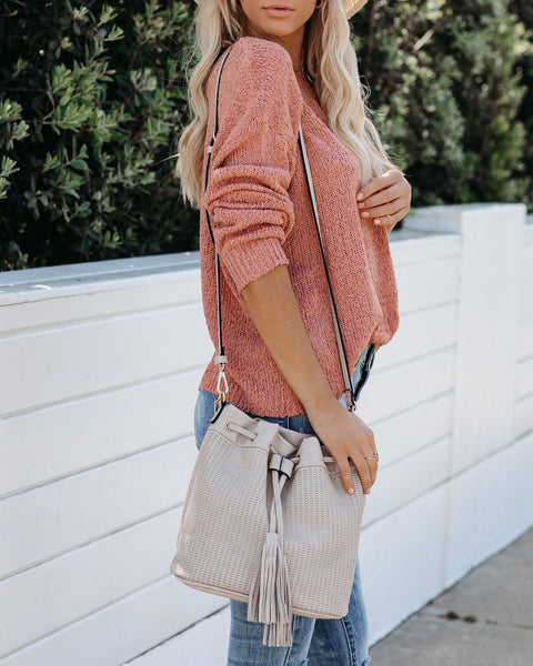 Allie Tassel Bucket Bag - Grey