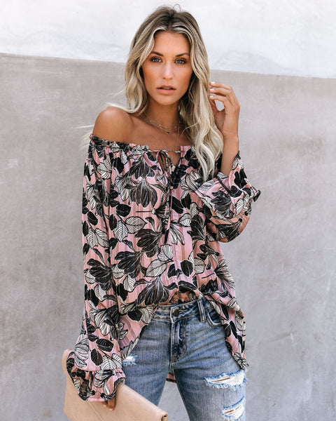 All I Want Floral Shimmer Blouse - FINAL SALE