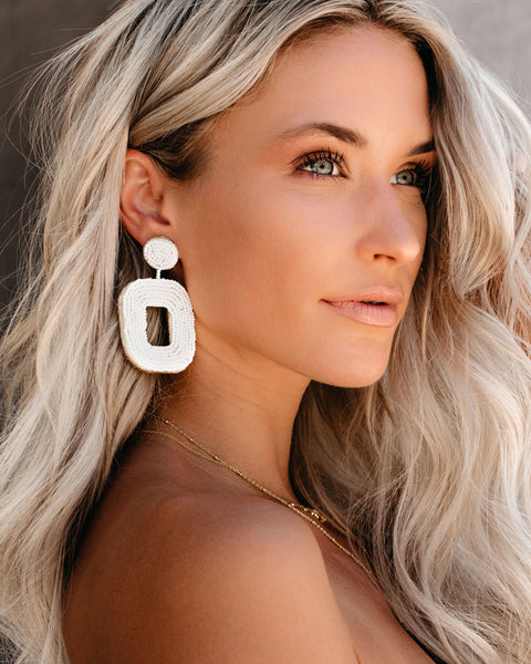All Squared Away Beaded Earrings - Ivory