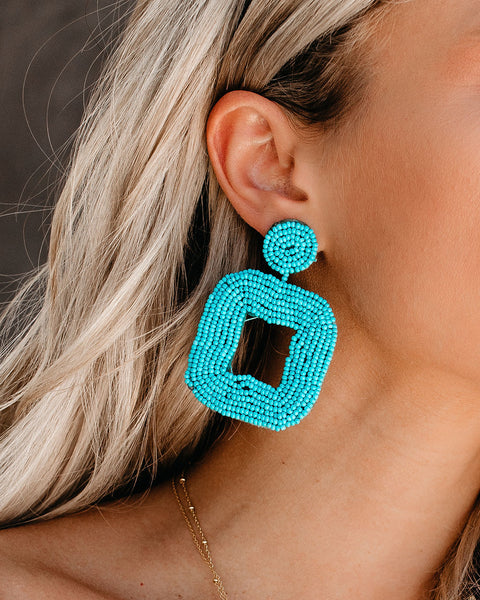 All Squared Away Beaded Earrings - Turquoise