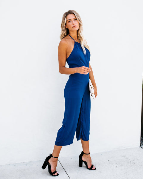 All The Right Moves Halter Jumpsuit - Blue