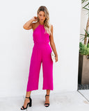 All The Right Moves Halter Jumpsuit - Fuchsia - FINAL SALE