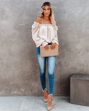 All You Need Metallic Ruffle Blouse