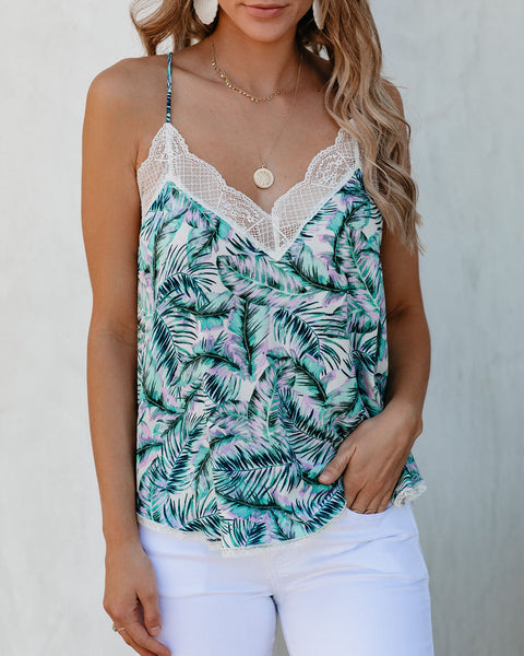 Aloha State Palm Print Lace Cami Tank - FINAL SALE