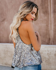 Always Glisten Sequined Tank - Pewter view 3