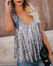 Always Glisten Sequined Tank - Pewter view 5