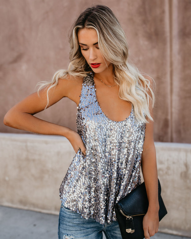 Always Glisten Sequined Tank - Pewter view 7