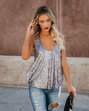 Always Glisten Sequined Tank - Pewter view 4