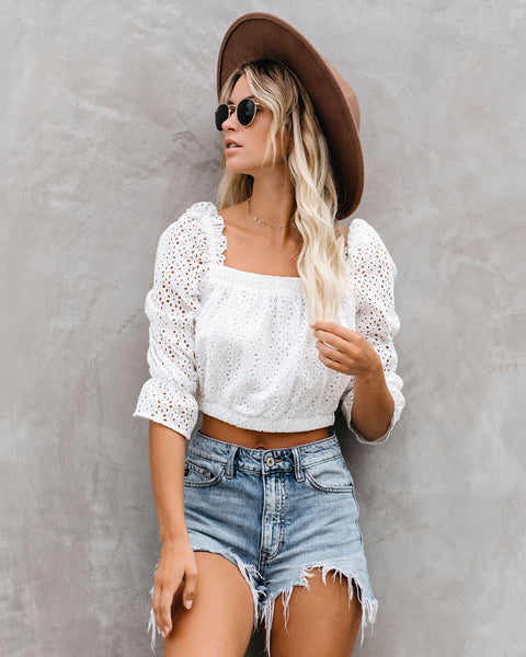 Amber Cotton Eyelet Ruffle Crop Top - White