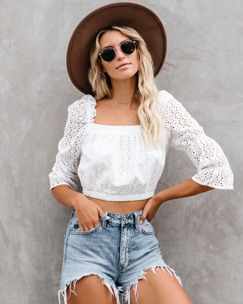 Amber Cotton Eyelet Ruffle Crop Top - White - FINAL SALE