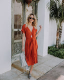 Do Your Thing Tie Midi Dress - Amber