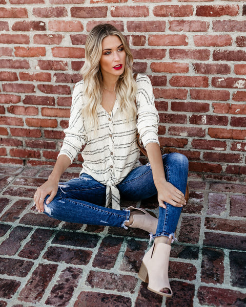 Amelia Button Down Knit Tie Top