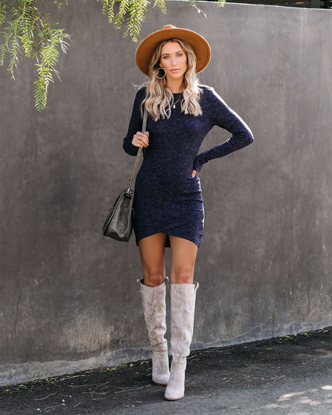 America's Sweetheart Long Sleeve Dress - Navy - FINAL SALE