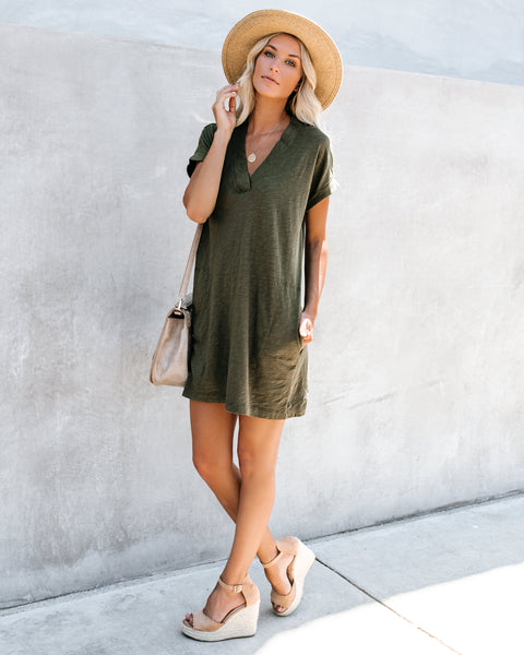 Amiable Pocketed Jersey T-Shirt Dress - Olive