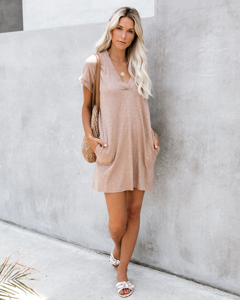 Amiable Pocketed Jersey T-Shirt Dress - Java