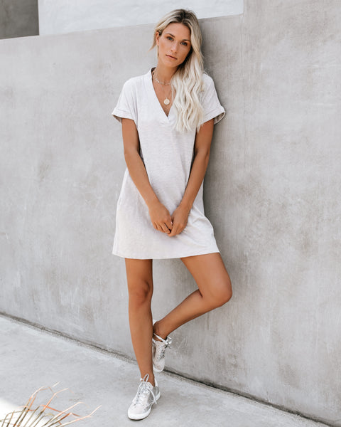 Amiable Pocketed Jersey T-Shirt Dress - Rock - FINAL SALE