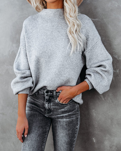 Amsterdam Mock Neck Sweater - Heather Grey