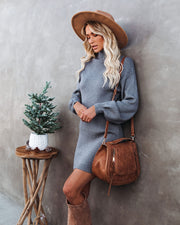 Anastasia Mock Neck Knit Sweater Dress - Grey