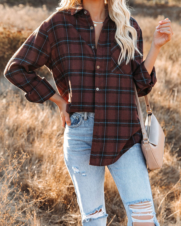 Anchorage Plaid Button Down Top - Chocolate