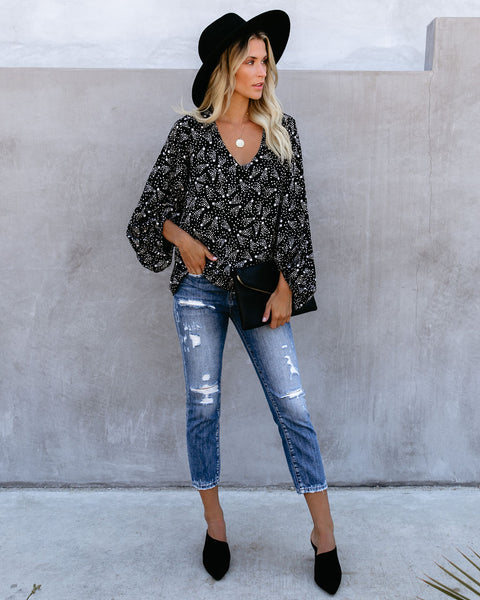 And Beyond Balloon Sleeve Blouse - Black - FINAL SALE