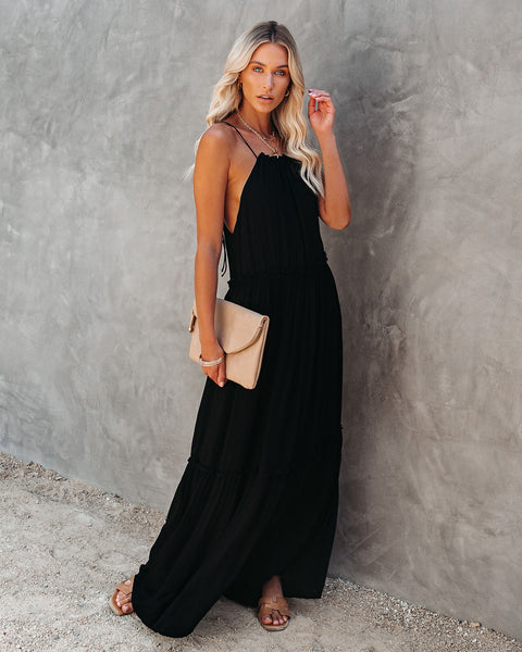 Andrea Ruffle Maxi Dress - Black