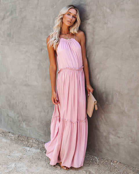 Andrea Ruffle Maxi Dress - Mauve