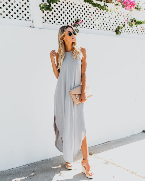 A New Day Scoop Maxi Dress - Light Silver - FINAL SALE