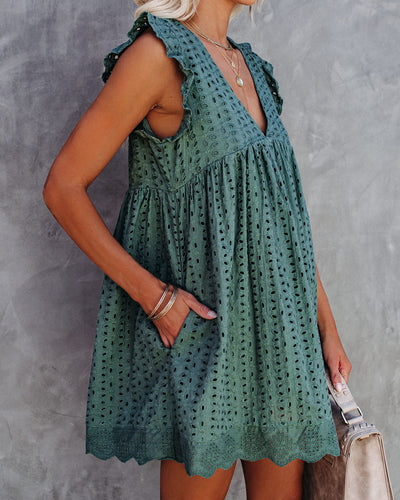 Angel Babe Cotton Eyelet Pocketed Dress - Deep Green - FINAL SALE