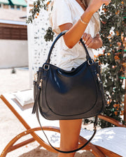 Angelica Faux Leather Crossbody Handbag - Black view 3
