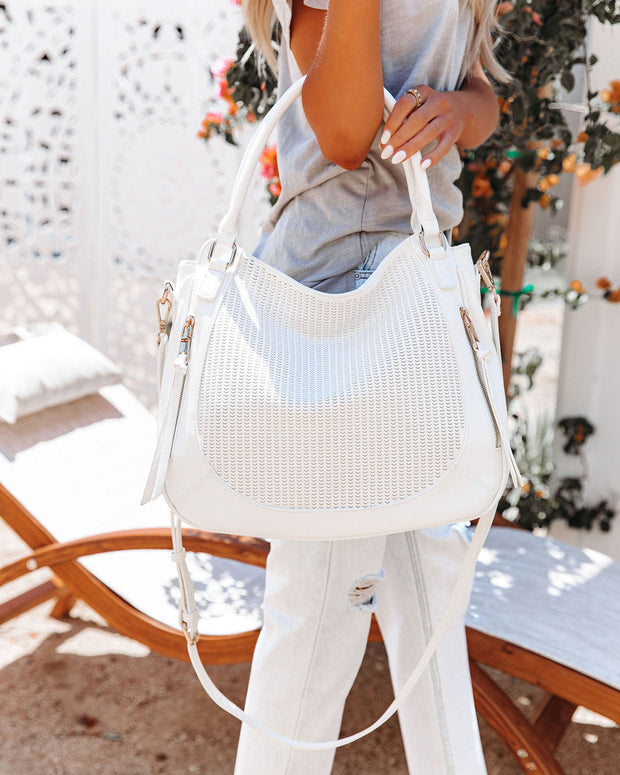 Angelica Faux Leather Crossbody Handbag - White view 3