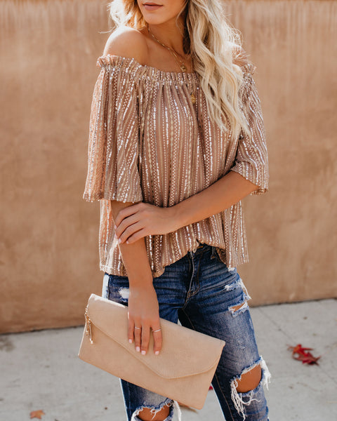 Angelica Off The Shoulder Sequin Top