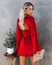 Angel Of The Night Satin Bell Sleeve Dress - Wine