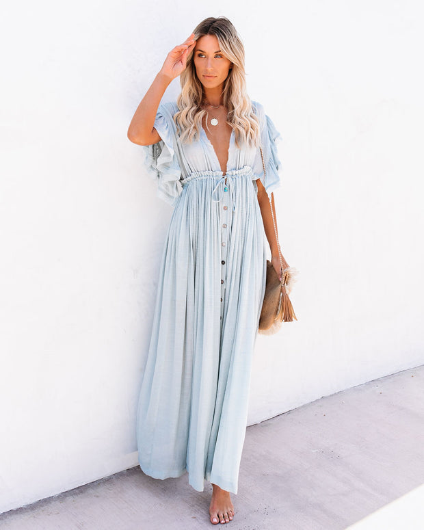 PREORDER - Anika Pocketed Button Down Ruffle Maxi Dress - Waterlily view 1
