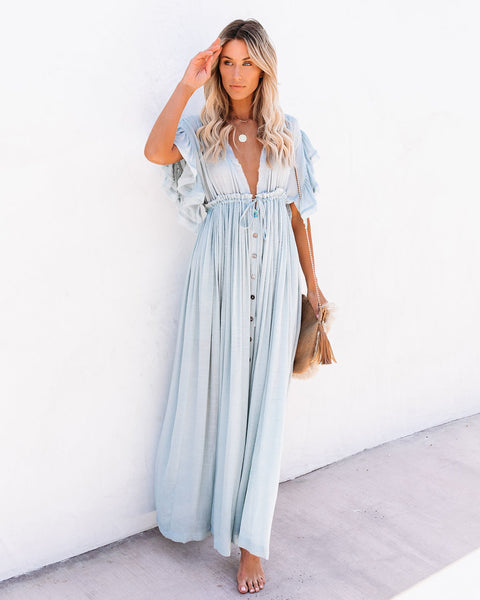 Anika Pocketed Button Down Ruffle Maxi Dress
